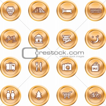 Tourist locations icon set