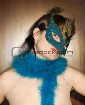 Woman wearing mask.