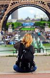Tourist at Eiffel tower