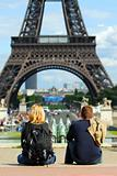 Tourists at Eiffel tower