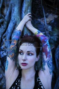 Portrait of tattooed woman.
