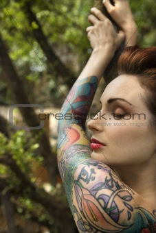 Attractive tattooed woman.