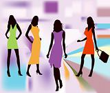 Fashion girls posing vector illustration