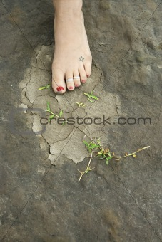Foot on ground.