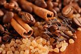 Coffee beans, cinnamon, sugar & clove