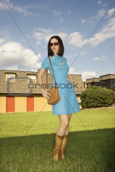 Woman in retro clothing.