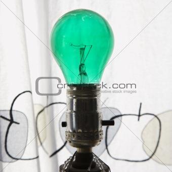 Green light bulb.