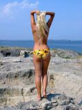 The sexual girl standing on a stone and looks at the sea