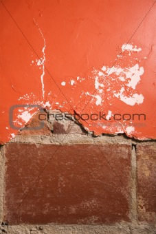 Brick and plaster wall.