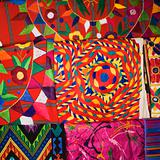 Colorful tapestries.