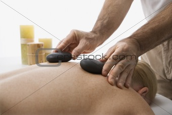 Hot stone massage.