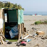 Poor camp on the beach