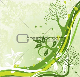 Grunge tree background, vector
