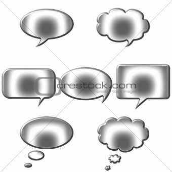 3D Silver Speech and Thought Bubbles