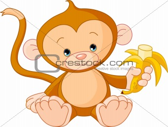 Baby Monkey eating banana