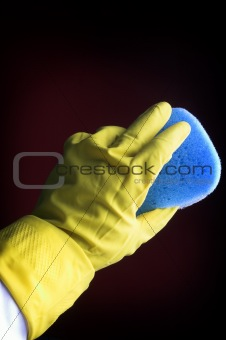 yellow glove with sponge