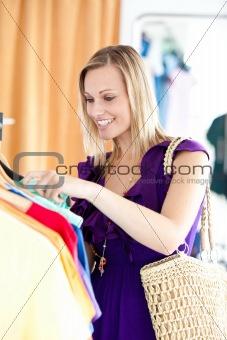 Caucasian woman is doing shopping