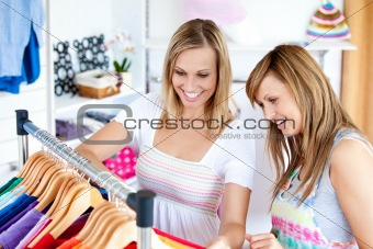 Two Caucasian women are doing shopping