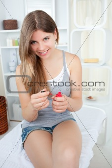 Bright woman with nail polish