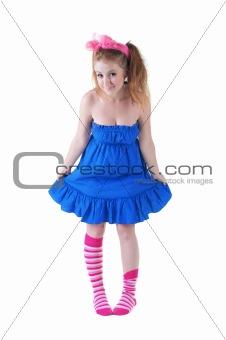 lovely red-haired girl in  dark blue sundress.