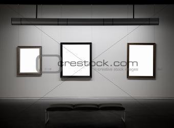 Empty frames in a museum