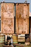 Rusted metal tanks
