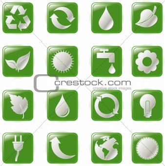 Green environmental bubbles on white