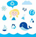 Recycle water: school nautical , ocean, water and nature icons