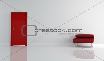red door and modern armchair
