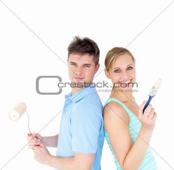 Charming couple smiling at the camera