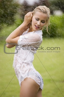 wet dressed woman