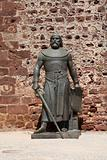 Knight statue at the castle of Silves, Algarve Portugal