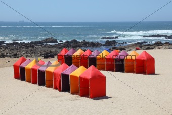 Bathing boxes at the beach near Porto, Portugal