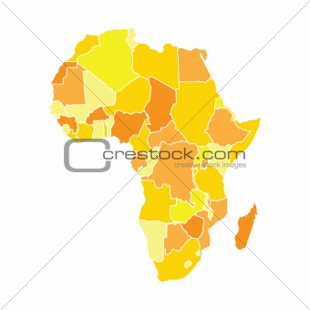 African map in yellow colors