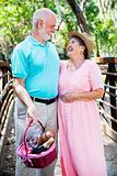 Romantic Seniors with Picnic Basket