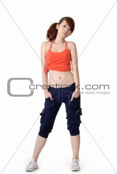 Athletic sport girl pose