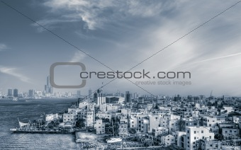 Cityscape of sea port