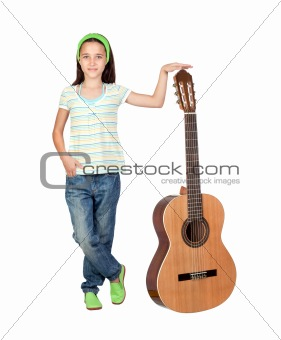 Adorable girl with a big guitar