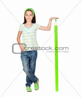 Adorable student girl with a giant green pencil