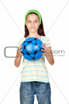 Adorable little girl with soccer ball