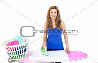 Bright woman ironing