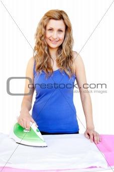 Cute woman ironing