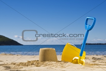 Spade and bucket at the beach