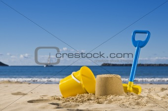 Sand,spade and bucket