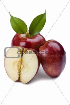 Cutting apple on white background