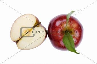 Cutting apple on white