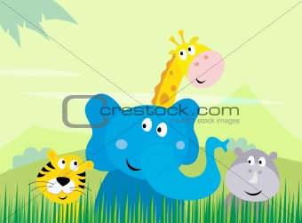 Cute safari Jungle animals - Tiger, Elephant, Giraffe and Rhinoceros