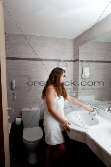beautiful woman in bathroom