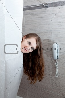 attractive woman taking shower