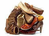 Pile of Brown Female Shoes